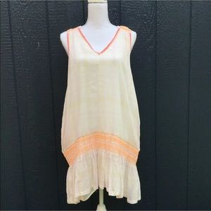 Free People Boho white & Orange Sleeveless Dress